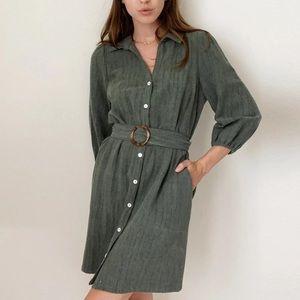 Greylin Stella Belted Shirtdress Green Medium
